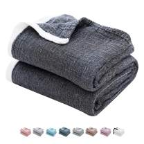 """SE SOFTEXLY Throw Blanket for Bed,3-Layer Muslin Summer Blanket for Couch Sofa,Light Comfortable 100% Cotton Blanket(80""""x90""""Queen Size,Dark Blue)"""