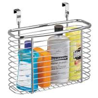 """iDesign Axis Metal Over the Cabinet Storage Organizer, Waste Basket, for Aluminum Foil, Sandwich Bags, Cleaning Supplies, Garbage Bags, Bath Supplies, 5"""" x 11"""" x 9.75"""", Chrome"""