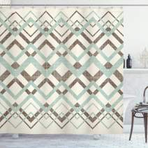 """Ambesonne Chevron Shower Curtain, Vintage Overlapping Zigzag Lines Thin and Thick Stripes Old Classical, Cloth Fabric Bathroom Decor Set with Hooks, 75"""" Long, Almond Green"""