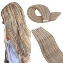 Ugeat Tape in Hair Extensions Human Hair 12 Inch Ash Blonde Highlighted with #613 Blonde Remy Human Hair Extensions Tape in 40pcs/60g Real Remy Hair Extensions Glue on
