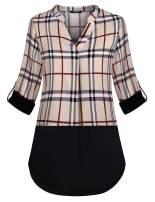 Lotusmile Women's Short Sleeve Tunics Shirt V Neck Pleat Blouses Tops