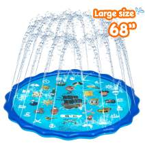 Obuby Sprinkle & Splash Play Mat, Sprinkler for Kids,Upgraded 68' Summer Outdoor Water Toys Wading Pool Splash pad for Toddlers Baby, Outside Water Play Mat for 1-12 Years Old Children Boys Girls