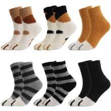 QKURT 6 Pairs Cat Paw Fuzzy Socks, Fluffy Cozy Winter Thick Warm Sleep Floor Silly Socks for Women Girls Men