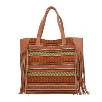 Genuine Leather Jacquard Tote Bag with Fringe Women Fashion Handbag Purse