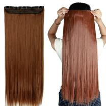 """S-noilite 24""""/26"""" Straight Curly 3/4 Full Head One Piece 5clips Clip in Hair Extensions Long Poplar Style for Xmas Gifts 22colors (26"""" - Straight, light auburn)"""
