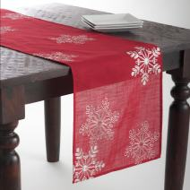 "SARO LIFESTYLE 70196.R1654B Snow Crystal Collection Snowflake Design Table Runner, 16"" x 54"", Red"