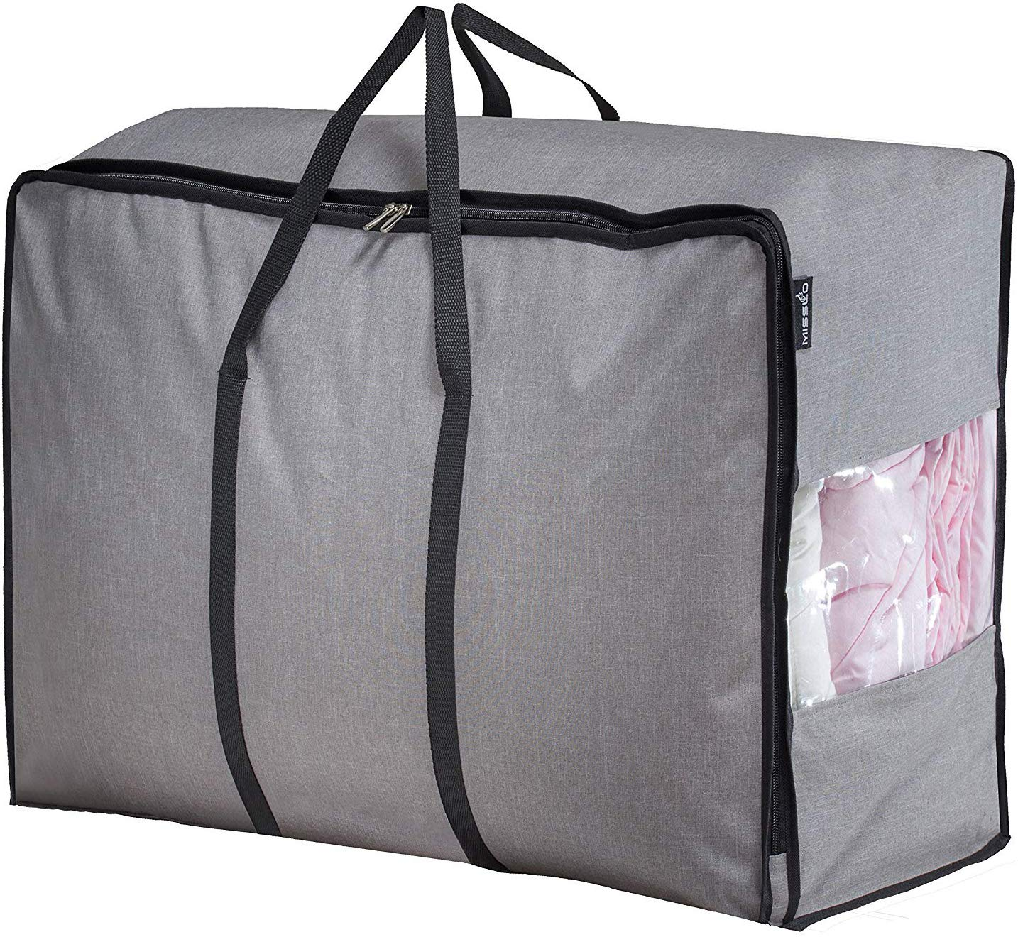 MISSLO Water Resistant Thick Over Size Storage Bag, Folding Organizer Bag, Under Bed Storage, College Carrying Bag for Bedding Comforters, Blanket, Clothes (Grey)
