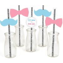 Baby Gender Reveal Paper Straw Decor - Baby Shower Striped Decorative Straws - Set of 24