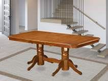 East West Furniture NAT-SBR-TP Butterfly Leaf Napoleon Table - Saddle Brown Table Top and Saddle Brown Finish Double Pedestal Legs Solid wood Structure Dinner Table