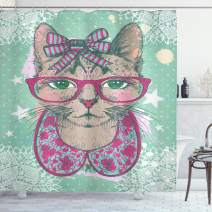 """Ambesonne Cat Shower Curtain, Fashion Cat in Hipster Glasses and Lace Collarette Bow Vintage Humorous Graphic, Cloth Fabric Bathroom Decor Set with Hooks, 84"""" Long Extra, Mint Green"""