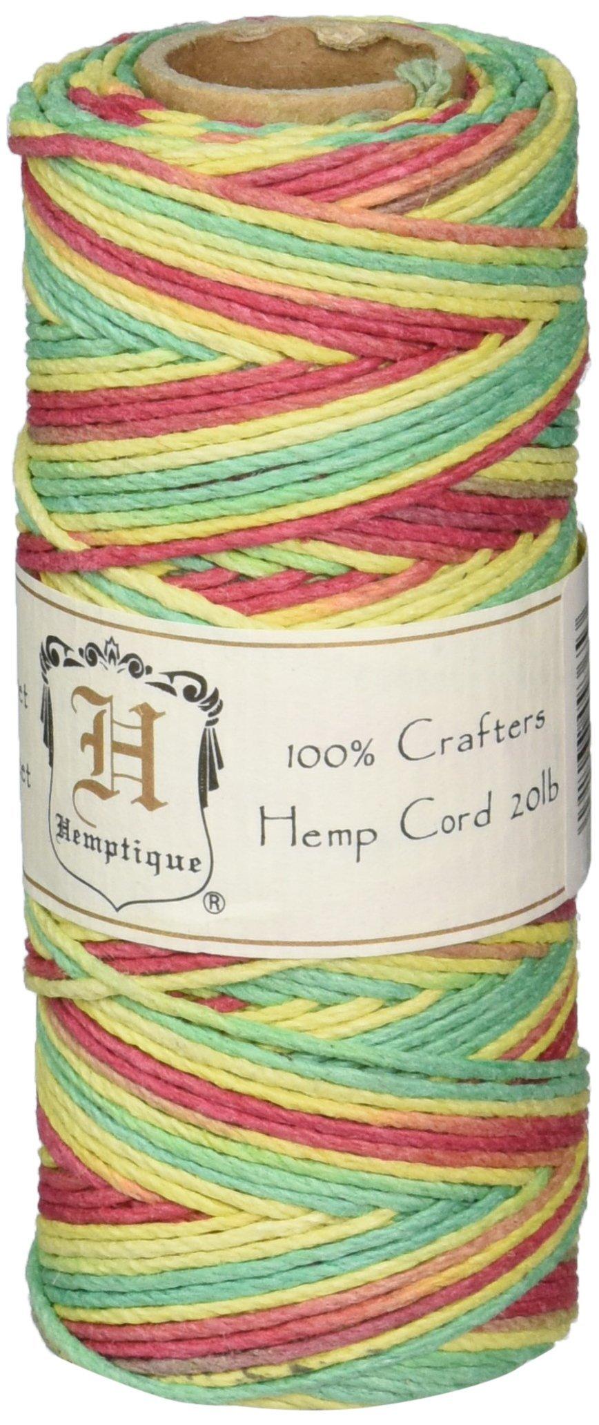 Hemptique 100% Hemp Cord Spool - 62.5 Meter Hemp String - Made with Love - No. 20 ~ 1mm Cord Thread for Jewelry Making, Macrame, Scrapbooking, DIY, & More - Variegated Rasta