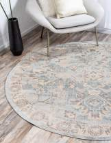 Unique Loom Paris Collection Pastel Tones Traditional Distressed Light Blue Round Rug (6' 0 x 6' 0)