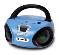 G Keni Portable CD Player Boombox with FM Radio/USB/Bluetooth/AUX Input and Earphone Jack Output, Stereo Sound Speaker, Audio Player, Blue