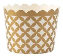 Simply Baked Small Paper Baking Cup, 25-Pack, Metallic Gold Diamond