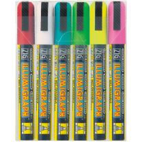 Zig Illumigraph Broad Tip Markers, Multicolor, 6-Pack