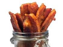 Delicious Uncured Real Bacon Jerky Hand Crafted Small Batch Kickin' Sriracha MSG Free Nitrate & Nitrite Free (Kickin' Sriracha, 24 pack)