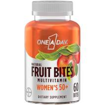 One A Day Women's 50+ Natural Fruit Bites Multivitamin with Immune Health Support*, 60 Count (1 Month Supply), Gluten Free Vitamins with Vitamin A, Vitamin D, Vitamin E, B6, B12, Biotin & More