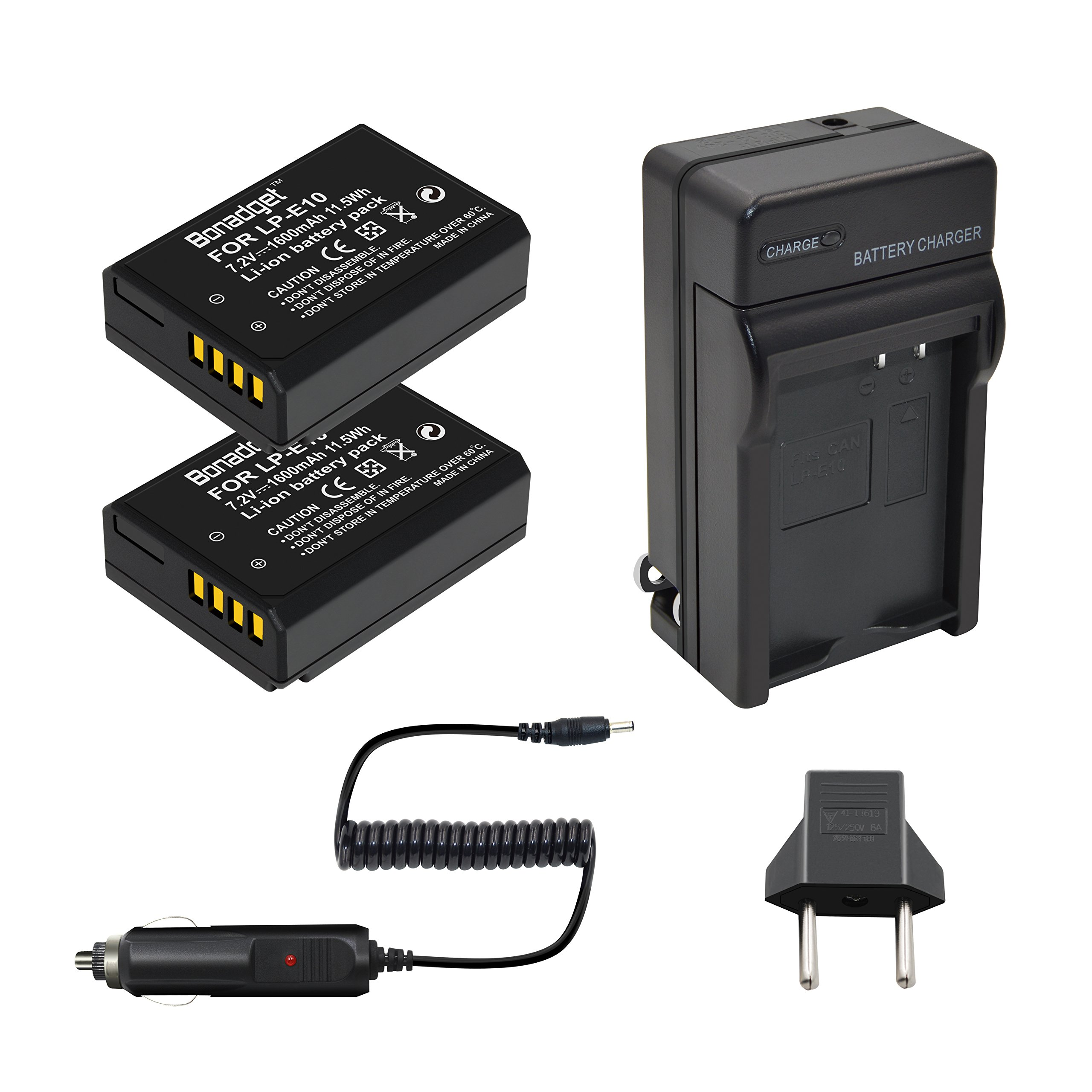 Bonadget LP-E10 Battery Charger Set, 1600mAh 2-Pack Replacement Battery and Charger Compatible with Canon EOS Rebel T3 T5 T6 T7, Kiss X50 X70 X80 X90, EOS 1100D, 1200D, 1300D 2000D,3000D