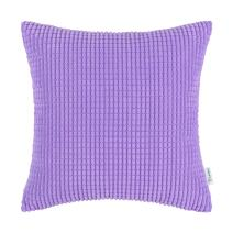 CaliTime Cozy Throw Pillow Cover Case for Couch Sofa Bed Comfortable Supersoft Corduroy Corn Striped Both Sides 20 X 20 Inches Lavender