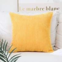"""Home Brilliant Decor Super Soft Plush Corduroy Striped Throw Pillow Cushion Covers for Sofa Couch Bed, 18"""" x 18"""" (45x45), Sunflower Yellow"""