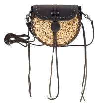Montana West Real Leather Western Circle Crossbody Small Purse For Women