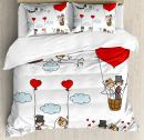 Ambesonne Wedding Duvet Cover Set, Cartoon Couple Romantic Caricatures Getting Married Newlywed Happiness, Decorative 3 Piece Bedding Set with 2 Pillow Shams, Queen Size, Mint Green