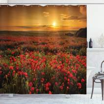 "Ambesonne Flower Shower Curtain, Poppy Field at Sunset Sun Beams Meadow Cloudscape Wildflower Scene, Cloth Fabric Bathroom Decor Set with Hooks, 70"" Long, Red Orange"