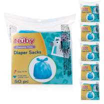 Nuby Diaper Disposable Bags, Fresh Baby Powder Scent, 6 Pack (50 Count Each Pack), 300 Count
