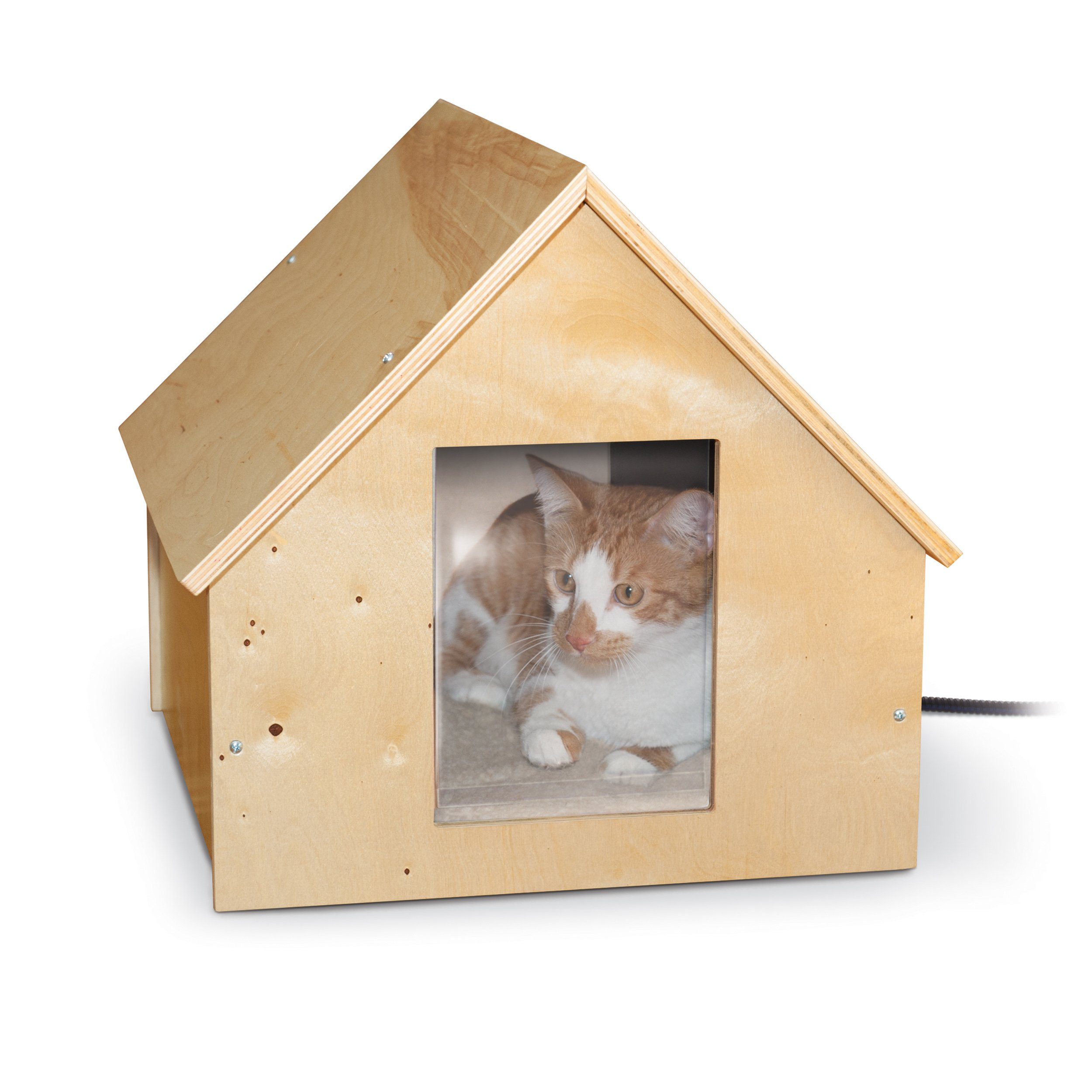 """K&H Pet Products Birchwood Manor Outdoor Thermo-Kitty Home (Heated) Natural Wood 18"""" x 16"""" x 15"""" 25W"""