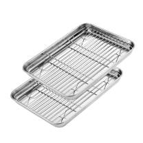 E-Gtong Baking Sheet with Rack Set [2 Sheets + 2 Racks], Size 16 x 12 x 1 Inch, Stainless Steel Cookie Sheet with Rack, Baking Pan with Rack Nonstick, Mirror Finish, Easy Clean