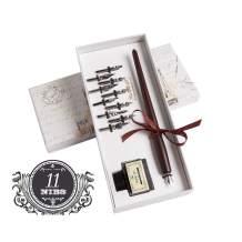Hethrone Wooden Dip Pen Handcrafted Calligraphy Set with 11 Nibs & Black Ink