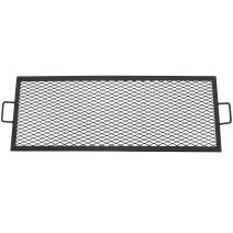 Sunnydaze X-Marks Fire Pit Cooking Grill Grate - Outdoor Rectangle Black Steel BBQ Campfire Grill with Handles - Metal Camping Cookware and Accessory - 40 Inch