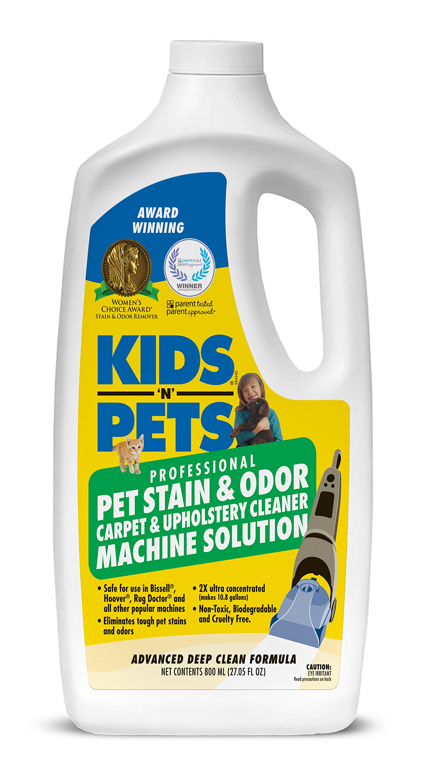 KIDS 'N' PETS Pet Stain & Odor - Carpet & Upholstery Cleaner Machine Solution – 27.05 oz (800 ml)   Professional Strength Formula Deeply Cleans Carpet & Upholstery   Non-Toxic & Child Safe