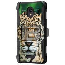 TurtleArmor | Compatible with Alcatel Insight Case | Alcatel TCL A1 Case [Hyper Shock] Hard Dual Layer Hybrid Rugged Belt Clip Holster Kickstand Case Animal - Hypnotic Leopard