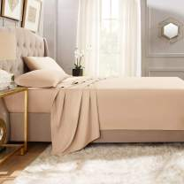 """Empyrean Bedding Premium Flat Sheets – 2-Pack """"110 GSM"""" Top Bed Sheets Double Brushed Microfiber Thick and Comfortable Flat Sheets Set, Luxurious & Soft Hotel Hypoallergenic, Twin, Taupe Sand"""