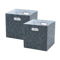 BAIST Cube Storage Bins,Nice Foldable Square Canvas Fabric Decorative Cubby Storage Cubes Bins Baskets for Nursery Bedroom Shelf 2 Pack,Gray Tweed Linen