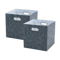BAIST Cube Storage Bins,Nice Foldable Square Canvas Fabric Decorative Cubby Storage Cubes Bins Baskets for Nursery Bedroom Shelf 2 Pack,Gray Tweed Linen