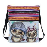 Aibearty Canvas Crossbody Bag Big Pocket Causal Wallet Purse Cell Phone Pouch