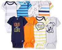 Onesies Brand Baby Boys' 8-Pack Short Sleeve Mix & Match Bodysuits, Loud Cute Dog, Newborn