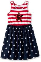 The Children's Place Girls' Big Sleeveless Graphic Sequence Americana Flutter Dress