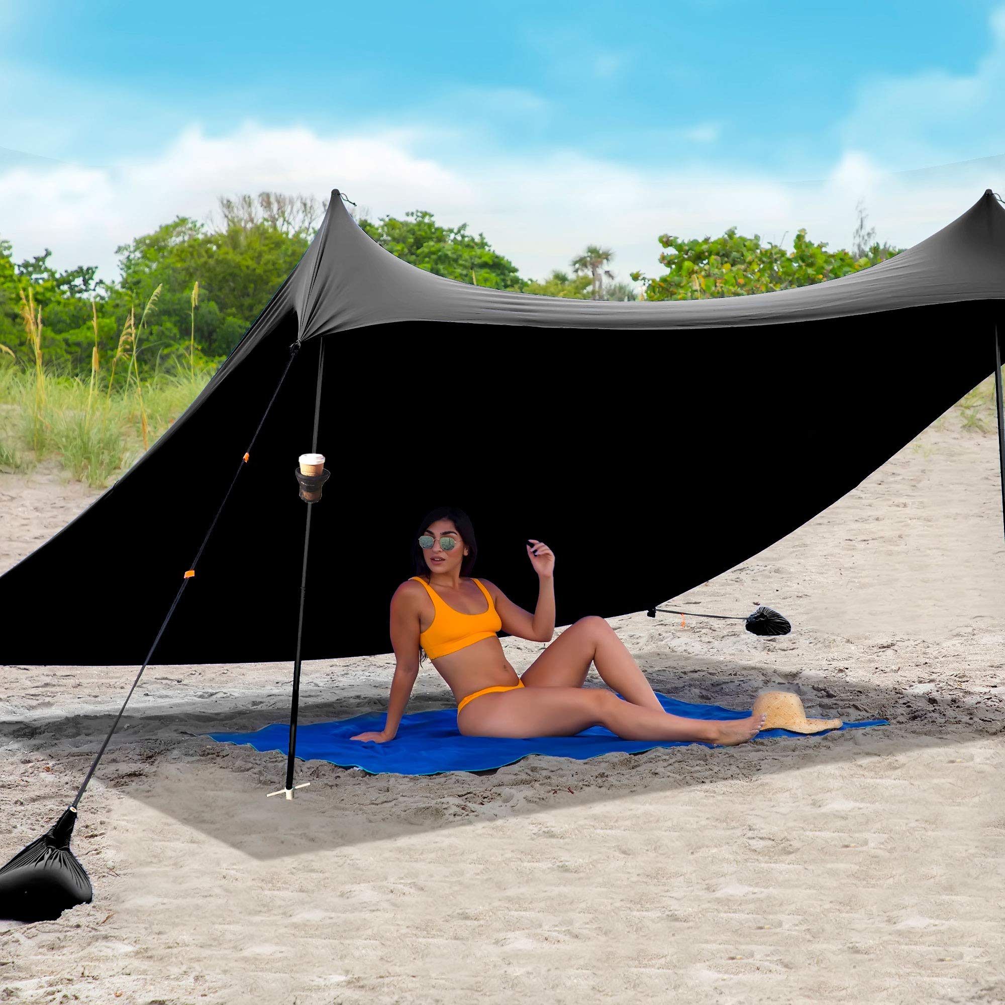 Red Suricata Family Beach Sunshade & 2 Beverage Holders Bundle - Sun Shade Canopy | UPF50 UV Protection | Tent with 4 Aluminum Poles & 4 Pole Anchors (Large, Black)