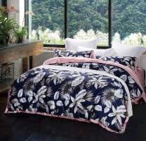 SLEEPBELLA Duvet Cover King, 1000 Thread Count Egyptian Cotton Bedding Sets 3 Piece Botanical Leaves Pattern Printed on Navy Comforter Cover (Silver-Leaf & Pink, King)