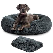 TR pet Calming Donut Dog Bed, Cozy Cat Cuddler Cave Dogs Beds with Removable Blanket, Soft Warming Fluffy Indoor Pets Bed for Small/ Medium/ Large Dogs Cats up to 150 lbs, Machine Washable