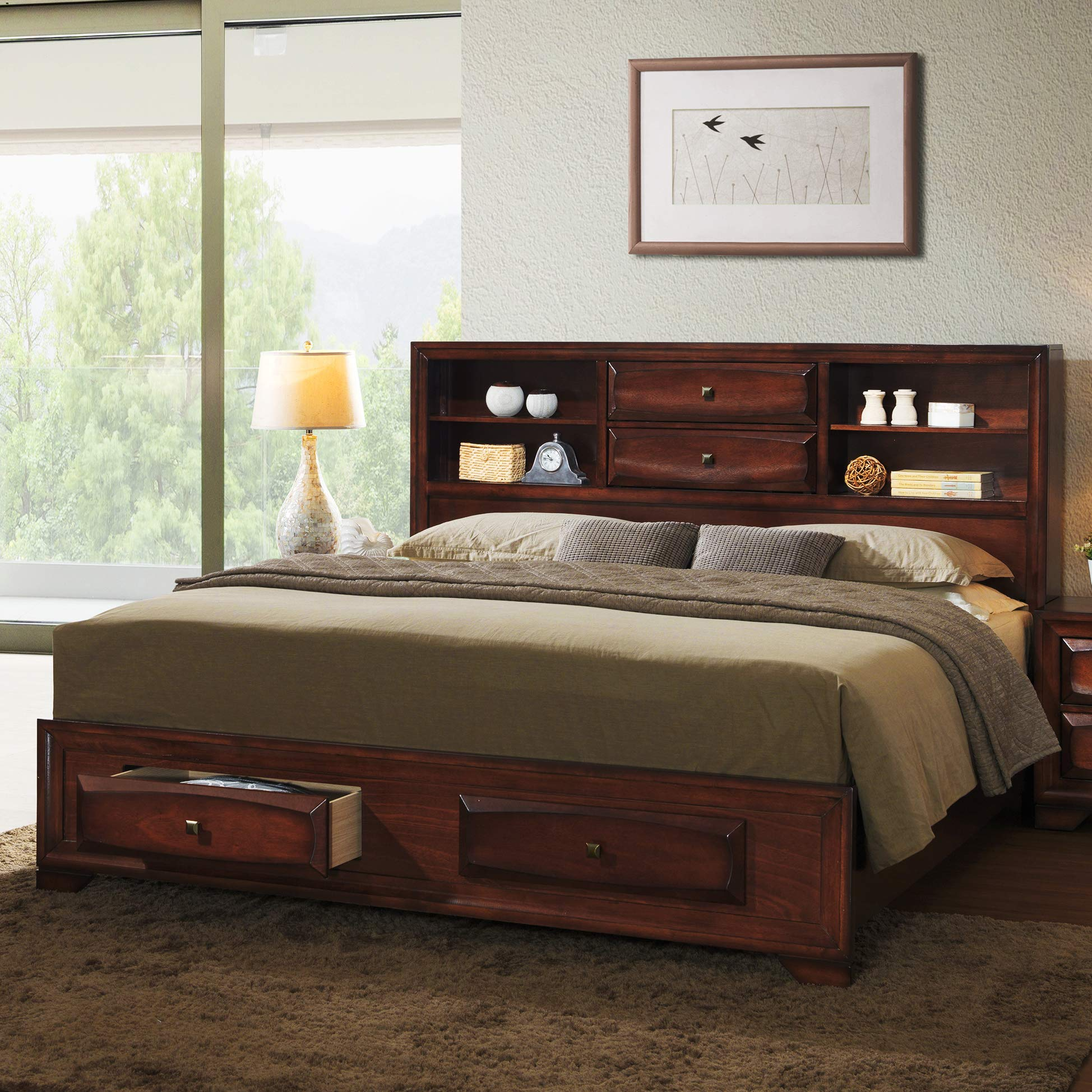 Roundhill Furniture Asger Wood Platform Bed, King, Antique Oak Finish