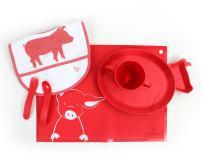 JJ Rabbit Starter Bundle | Toddler Feeding Set | Eco-Friendly BpA-Free Silicone Placemat (Wet Coral (Red)) | Childrens Feeding Set | Kids Size Food Sets | Cute Food Sets | Cute Baby Meal Sets | Kids