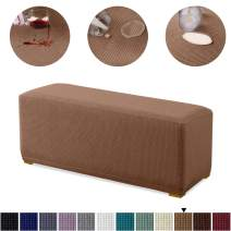 Granbest Premium Water Repellent Ottoman Cover High Stretch Rectangle Folding Storage Stool Ottoman Slipcovers (Ottoman Standard, Coffee)