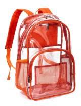 Leaper Clear Backpack Transparent Backpack for School, Security Travel, Orange