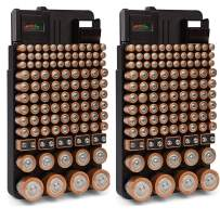 2 Battery Organizers with Testers - Wall Mounted or Drawer Storage - Holds Over 220 Batteries AA, AAA, 9Volt, C, D & Watch Batteries