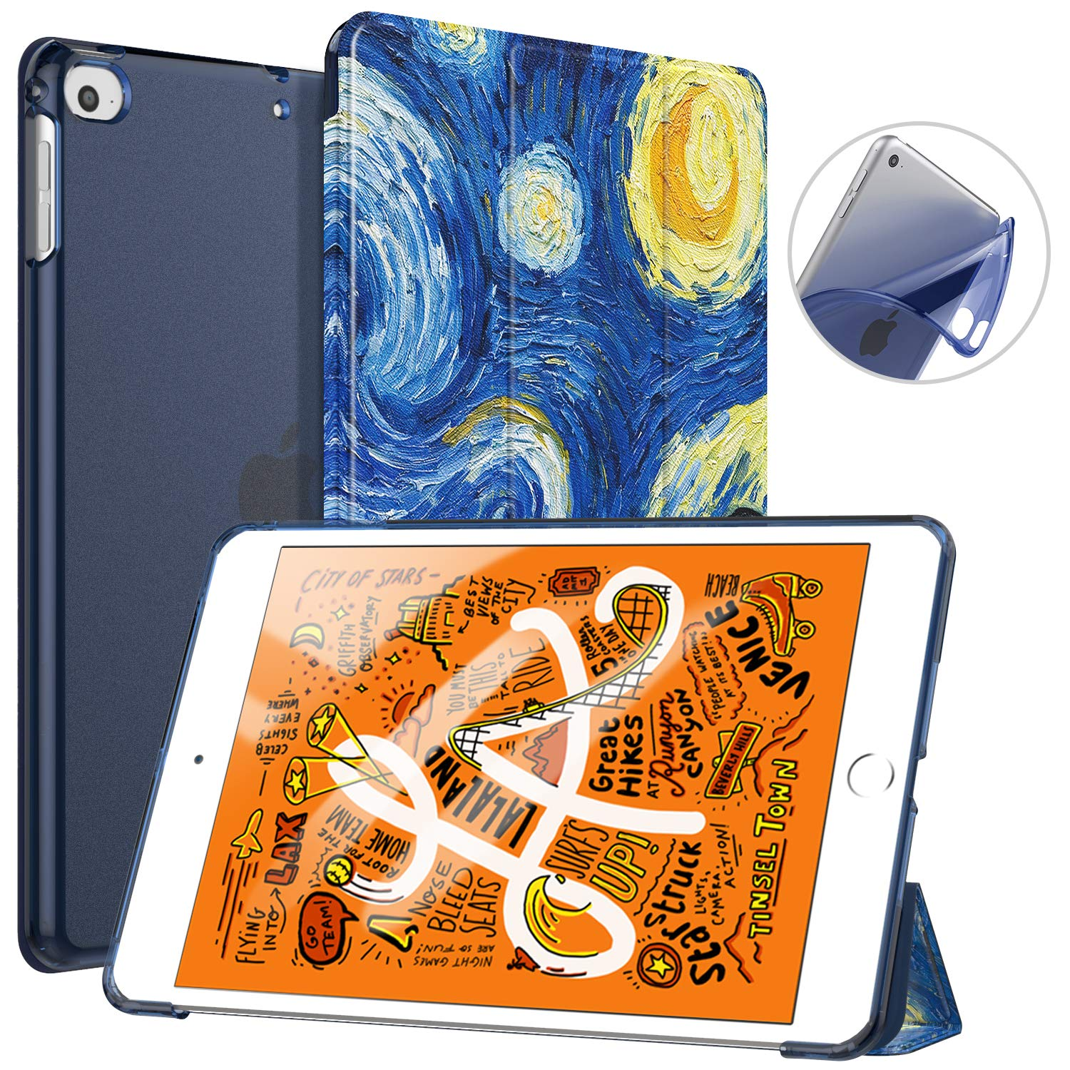 TiMOVO Cover Compatible for New iPad Mini 5th Generation 2019 Case, Slim Soft TPU Translucent Frosted Back Protector Cover Shell with Auto Wake/Sleep, Smart Cover Fit iPad Mini 5 2019, Starry Night