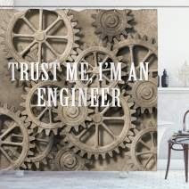 """Ambesonne Engineering Shower Curtain, Trust Me Im an Engineer Typography Funny Job Themed Saying on Wheels, Cloth Fabric Bathroom Decor Set with Hooks, 70"""" Long, Pale Sepia"""